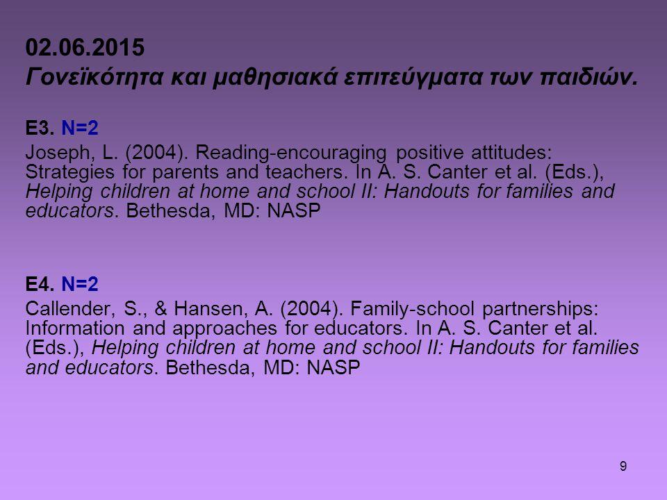 9 02.06.2015 Γονεϊκότητα και μαθησιακά επιτεύγματα των παιδιών. E3. N=2 Joseph, L. (2004). Reading-encouraging positive attitudes: Strategies for pare