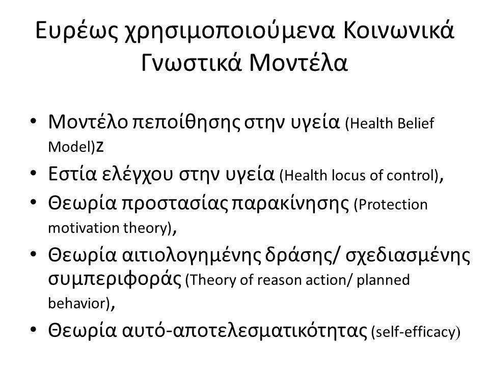 Ευρέως χρησιμοποιούμενα Κοινωνικά Γνωστικά Μοντέλα Μοντέλο πεποίθησης στην υγεία (Health Belief Model) z Εστία ελέγχου στην υγεία (Health locus of con