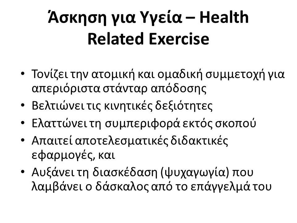 Άσκηση για Υγεία – Health Related Exercise Τονίζει την ατομική και ομαδική συμμετοχή για απεριόριστα στάνταρ απόδοσης Βελτιώνει τις κινητικές δεξιότητ