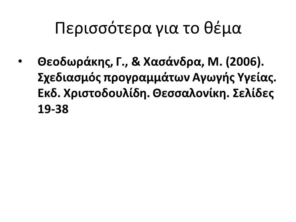 Περισσότερα για το θέμα Θεοδωράκης, Γ., & Χασάνδρα, Μ. (2006). Σχεδιασμός προγραμμάτων Αγωγής Υγείας. Εκδ. Χριστοδουλίδη. Θεσσαλονίκη. Σελίδες 19-38