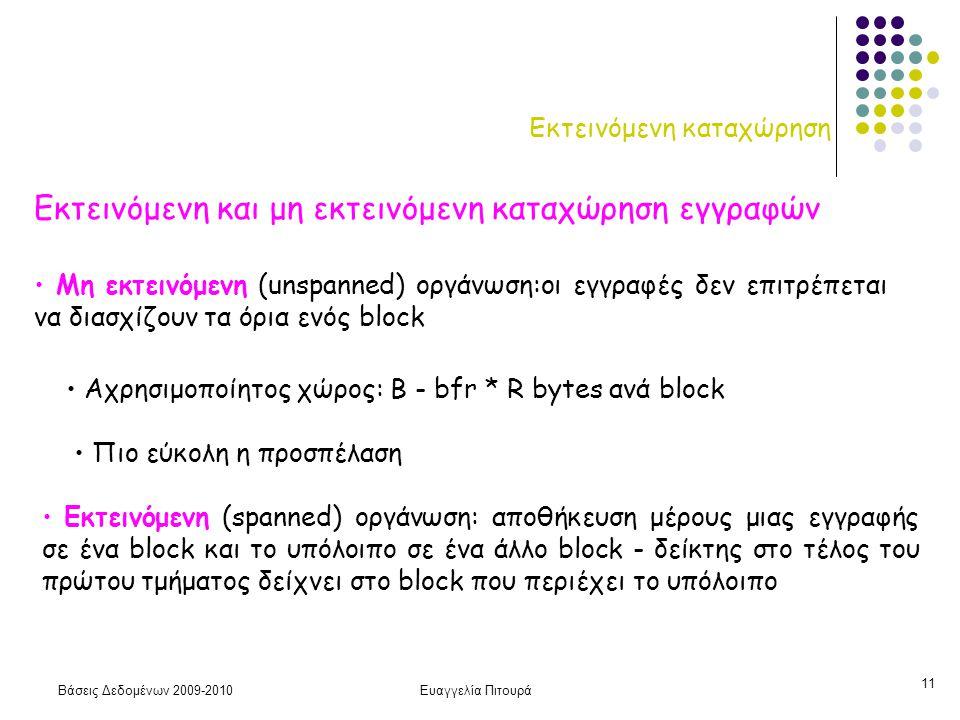 Βάσεις Δεδομένων 2009-2010Ευαγγελία Πιτουρά 11 Εκτεινόμενη καταχώρηση Εκτεινόμενη και μη εκτεινόμενη καταχώρηση εγγραφών Εκτεινόμενη (spanned) οργάνωση: αποθήκευση μέρους μιας εγγραφής σε ένα block και το υπόλοιπο σε ένα άλλο block - δείκτης στο τέλος του πρώτου τμήματος δείχνει στο block που περιέχει το υπόλοιπο Αχρησιμοποίητος χώρος: Β - bfr * R bytes ανά block Μη εκτεινόμενη (unspanned) οργάνωση:οι εγγραφές δεν επιτρέπεται να διασχίζουν τα όρια ενός block Πιο εύκολη η προσπέλαση