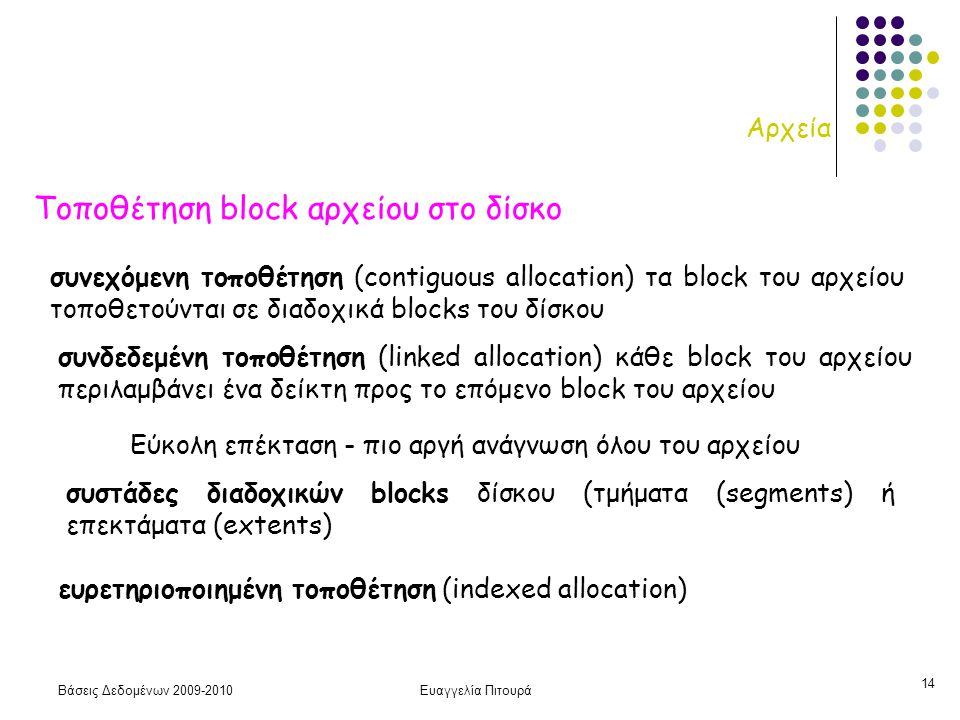Βάσεις Δεδομένων 2009-2010Ευαγγελία Πιτουρά 14 Αρχεία Τοποθέτηση block αρχείου στο δίσκο συνεχόμενη τοποθέτηση (contiguous allocation) τα block του αρχείου τοποθετούνται σε διαδοχικά blocks του δίσκου συνδεδεμένη τοποθέτηση (linked allocation) κάθε block του αρχείου περιλαμβάνει ένα δείκτη προς το επόμενο block του αρχείου Εύκολη επέκταση - πιο αργή ανάγνωση όλου του αρχείου συστάδες διαδοχικών blocks δίσκου (τμήματα (segments) ή επεκτάματα (extents) ευρετηριοποιημένη τοποθέτηση (indexed allocation)