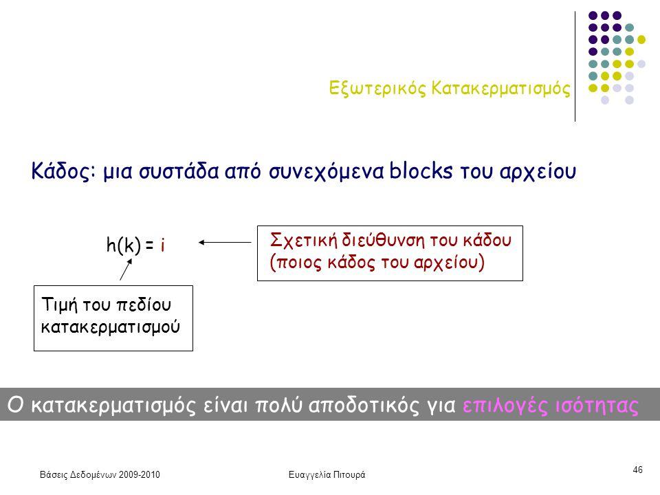 Βάσεις Δεδομένων 2009-2010Ευαγγελία Πιτουρά 46 Εξωτερικός Κατακερματισμός h(k) = i Τιμή του πεδίου κατακερματισμού Σχετική διεύθυνση του κάδου (ποιος κάδος του αρχείου) Κάδος: μια συστάδα από συνεχόμενα blocks του αρχείου Ο κατακερματισμός είναι πολύ αποδοτικός για επιλογές ισότητας
