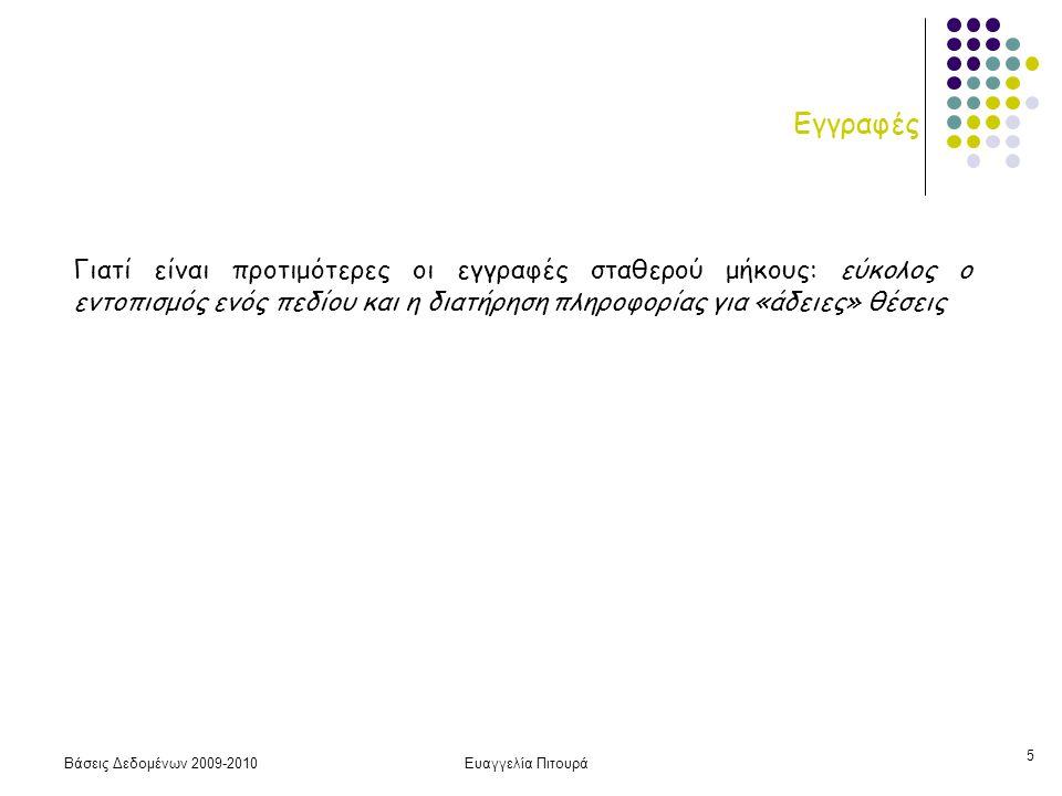 Βάσεις Δεδομένων 2009-2010Ευαγγελία Πιτουρά 6 Εγγραφές Πως προκύπτουν οι εγγραφές μεταβλητού τύπου; Στο σχεσιακό μοντέλο κάθε εγγραφή (πλειάδα) μιας σχέσης περιέχει το ίδιο πλήθος πεδίων (αριθμό γνωρισμάτων).