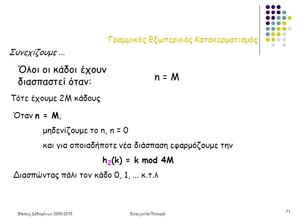 Βάσεις Δεδομένων 2009-2010Ευαγγελία Πιτουρά 71 Γραμμικός Εξωτερικός Κατακερματισμός Όλοι οι κάδοι έχουν διασπαστεί όταν: n = M Τότε έχουμε 2M κάδους Όταν n = M, μηδενίζουμε το n, n = 0 και για οποιαδήποτε νέα διάσπαση εφαρμόζουμε την h 2 (k) = k mod 4M Διασπώντας πάλι τον κάδο 0, 1,...