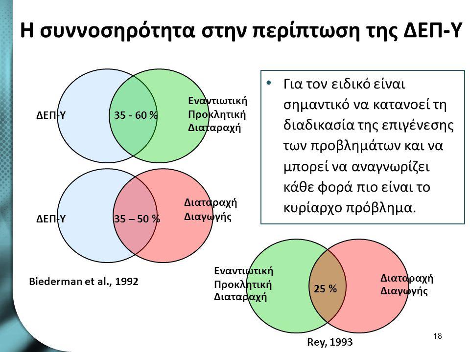 Η συννοσηρότητα στην περίπτωση της ΔΕΠ-Υ Για τον ειδικό είναι σημαντικό να κατανοεί τη διαδικασία της επιγένεσης των προβλημάτων και να μπορεί να αναγ