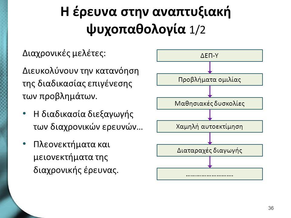Η έρευνα στην αναπτυξιακή ψυχοπαθολογία 1/2 Διαχρονικές μελέτες: Διευκολύνουν την κατανόηση της διαδικασίας επιγένεσης των προβλημάτων. Η διαδικασία δ