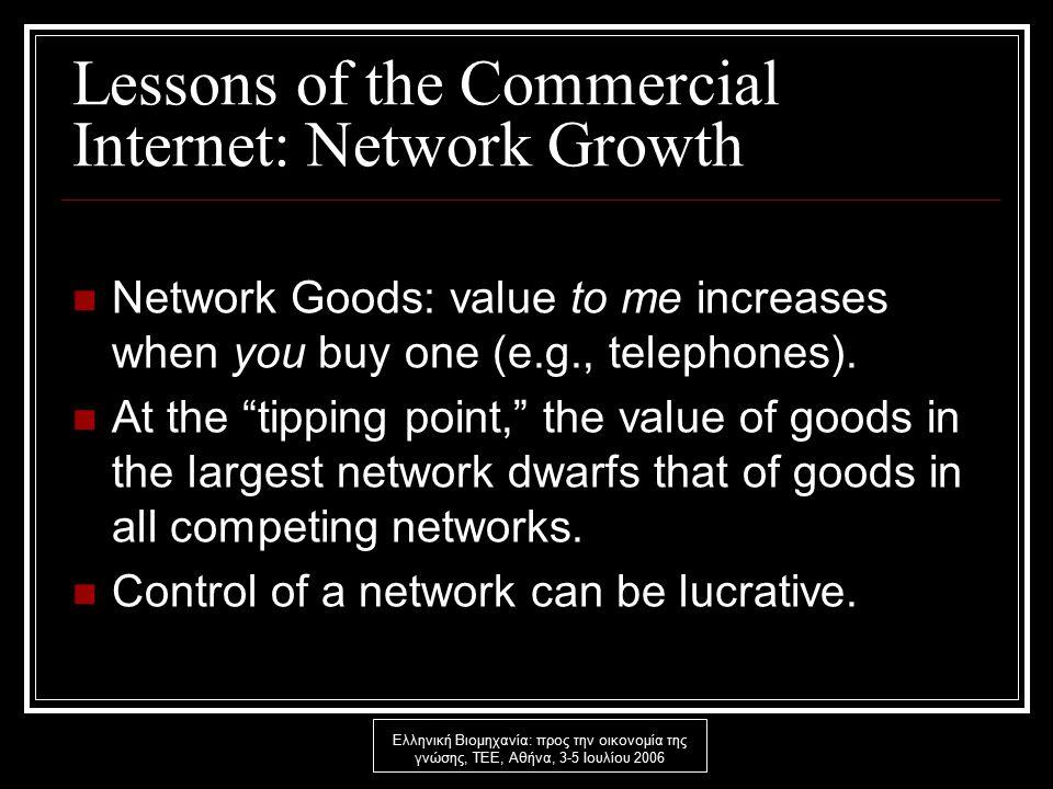 Ελληνική Βιομηχανία: προς την οικονομία της γνώσης, ΤΕΕ, Αθήνα, 3-5 Ιουλίου 2006 Lessons of the Commercial Internet: Network Growth Network Goods: value to me increases when you buy one (e.g., telephones).