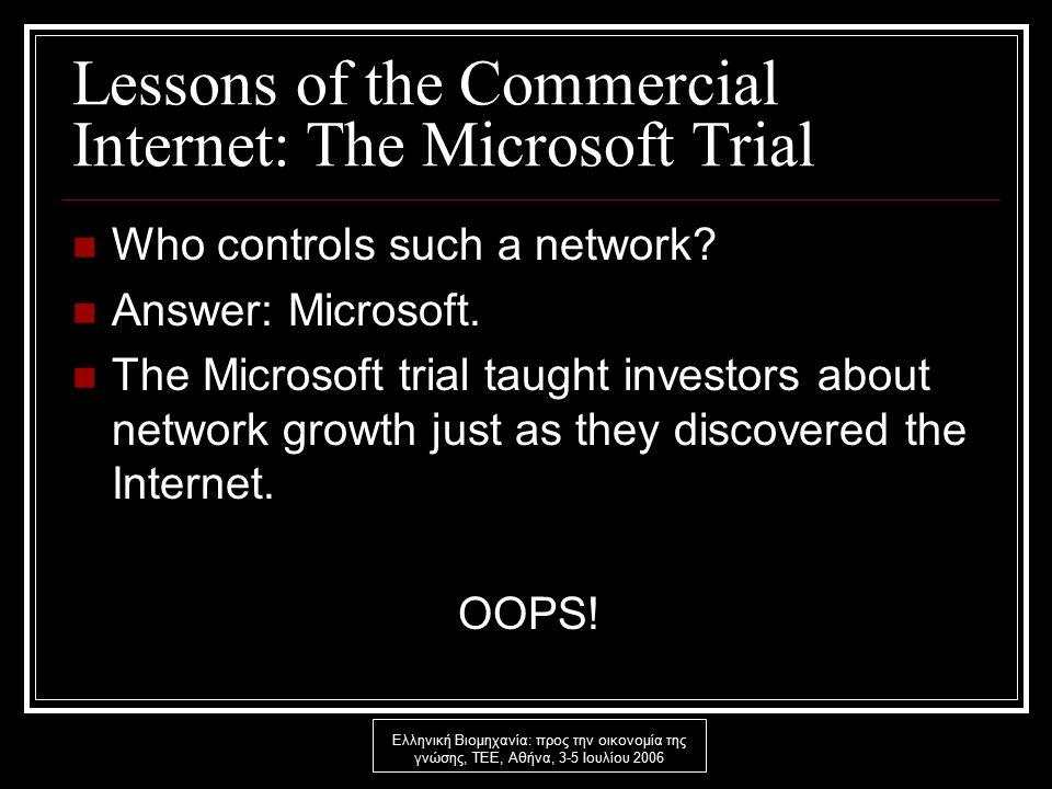 Ελληνική Βιομηχανία: προς την οικονομία της γνώσης, ΤΕΕ, Αθήνα, 3-5 Ιουλίου 2006 Lessons of the Commercial Internet: The Microsoft Trial Who controls such a network.