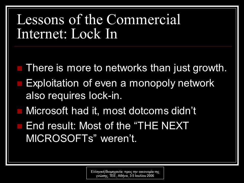 Ελληνική Βιομηχανία: προς την οικονομία της γνώσης, ΤΕΕ, Αθήνα, 3-5 Ιουλίου 2006 Lessons of the Commercial Internet: Lock In There is more to networks than just growth.
