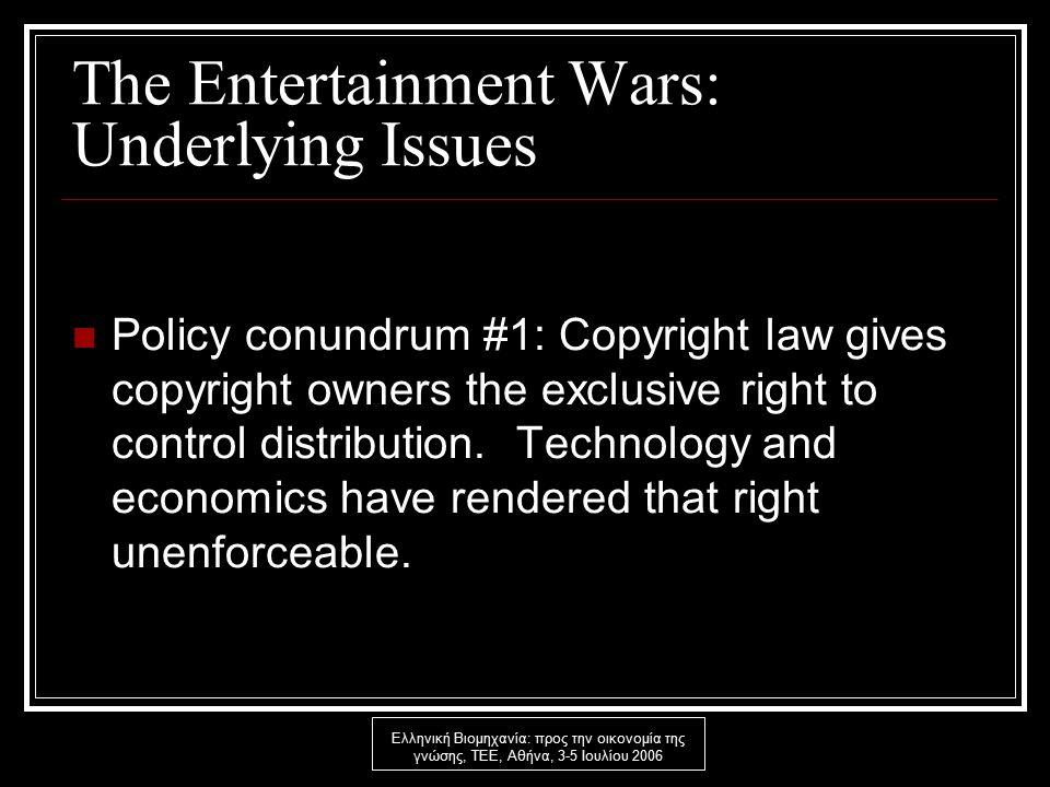 Ελληνική Βιομηχανία: προς την οικονομία της γνώσης, ΤΕΕ, Αθήνα, 3-5 Ιουλίου 2006 The Entertainment Wars: Underlying Issues Policy conundrum #1: Copyright law gives copyright owners the exclusive right to control distribution.