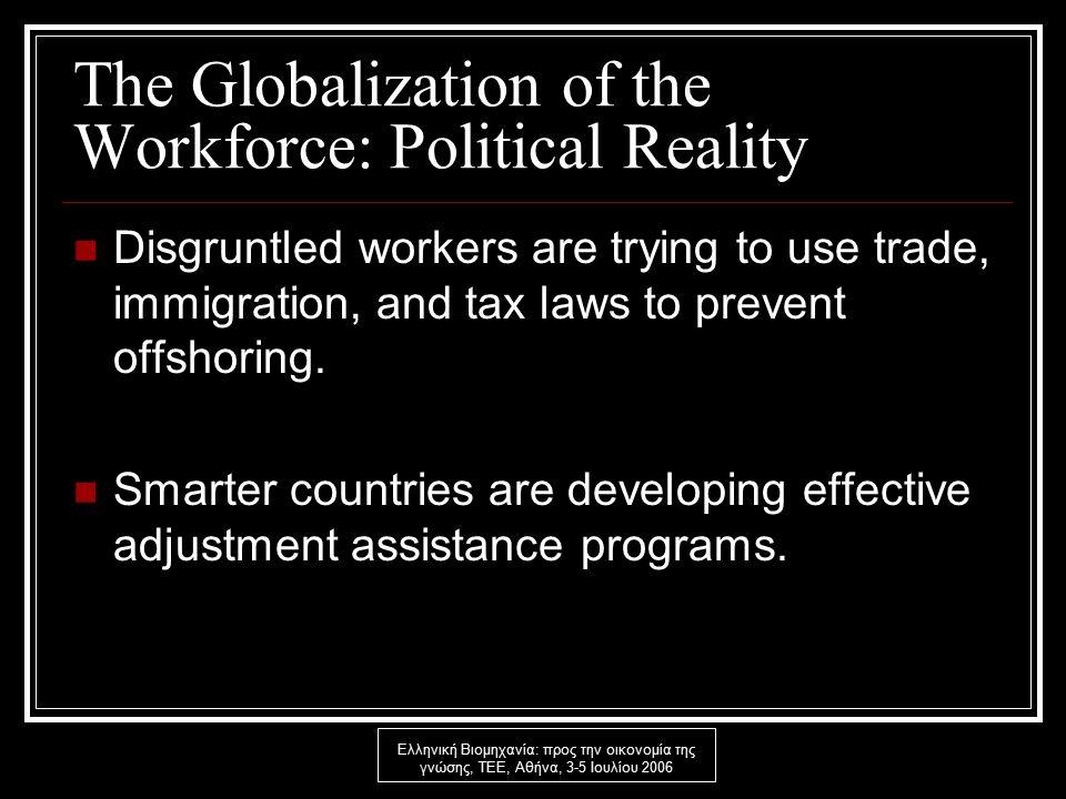 Ελληνική Βιομηχανία: προς την οικονομία της γνώσης, ΤΕΕ, Αθήνα, 3-5 Ιουλίου 2006 The Globalization of the Workforce: Political Reality Disgruntled workers are trying to use trade, immigration, and tax laws to prevent offshoring.