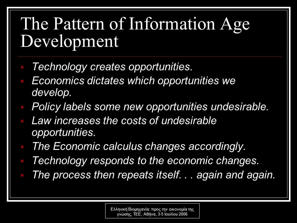 Ελληνική Βιομηχανία: προς την οικονομία της γνώσης, ΤΕΕ, Αθήνα, 3-5 Ιουλίου 2006 The Pattern of Information Age Development  Technology creates opportunities.