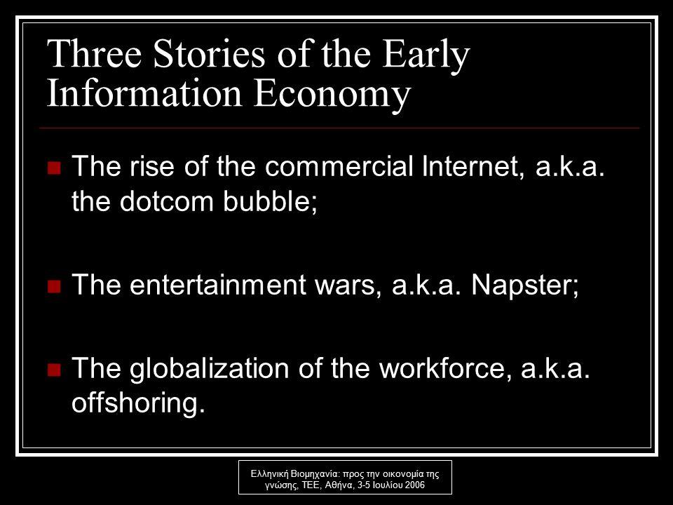 Ελληνική Βιομηχανία: προς την οικονομία της γνώσης, ΤΕΕ, Αθήνα, 3-5 Ιουλίου 2006 Three Stories of the Early Information Economy The rise of the commercial Internet, a.k.a.