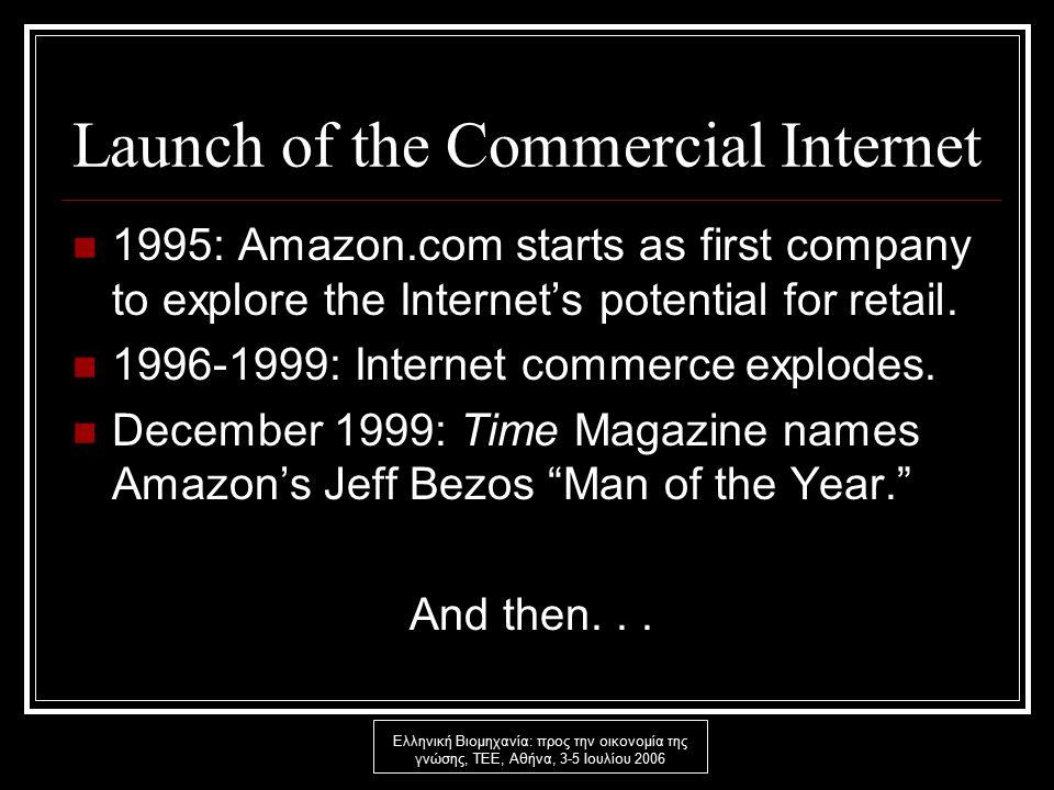 Ελληνική Βιομηχανία: προς την οικονομία της γνώσης, ΤΕΕ, Αθήνα, 3-5 Ιουλίου 2006 The Crash the Commercial Internet 2000: Bills start to come due; Unpaid bills mount; Massive numbers of business failures; Collapse of equity market.