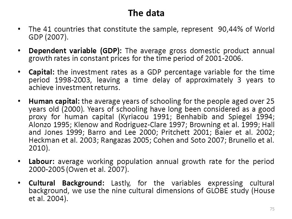 75 The data The 41 countries that constitute the sample, represent 90,44% of World GDP (2007). Dependent variable (GDP): The average gross domestic pr