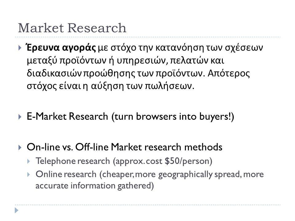 Market Research  Έρευνα αγοράς με στόχο την κατανόηση των σχέσεων μεταξύ προϊόντων ή υπηρεσιών, πελατών και διαδικασιών προώθησης των προϊόντων.