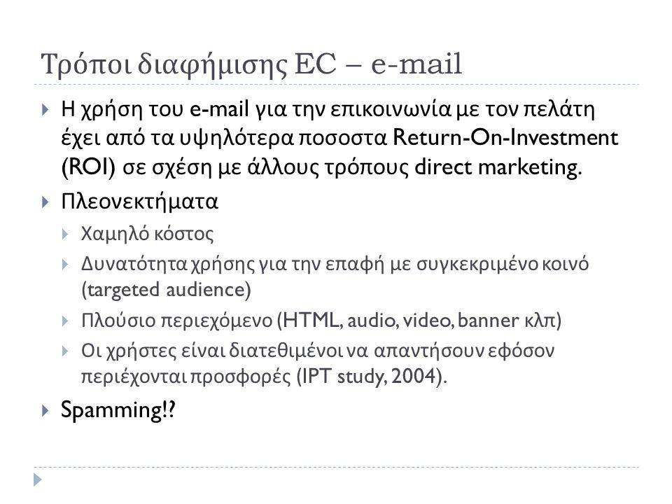 Τρόποι διαφήμισης EC – e-mail  Η χρήση του e-mail για την επικοινωνία με τον πελάτη έχει από τα υψηλότερα ποσοστα Return-On-Investment (ROI) σε σχέση με άλλους τρόπους direct marketing.