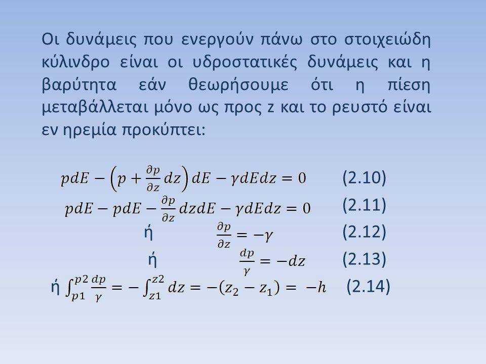 όπου h είναι η υψομετρική διαφορά μεταξύ z 1 και z 2.