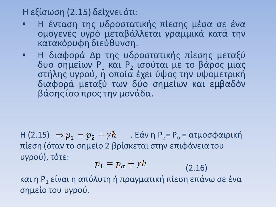 Από την εξίσωση (2.16) προκύπτει: (2.17) Εάν τεθεί (2.18) Η εξίσωση (2.18) δίνει τη σχετική πίεση ή πίεση οργάνου επάνω σε ένα σημείο που βρίσκεται μέσα σε ομογενές υγρό σταθερού ειδικού βάρους.