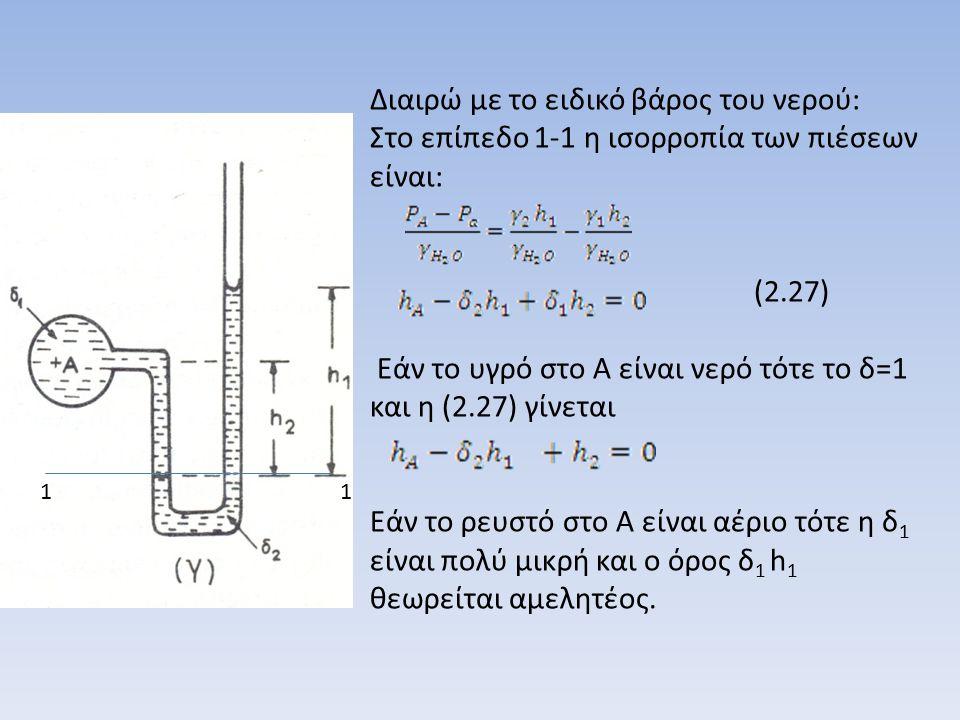β) Διαφορικά μανόμετρα (σχ.2.6) Είναι κλειστά μανόμετρα.