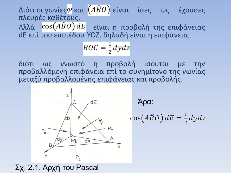 Το βάρος του τετραέδρου είναι Άρα η εξίσωση (2.5) γίνεται: (2.6) ή(2.7) Αν το τετράεδρο αφεθεί να σμικρυνθεί πάρα πολύ, ο τελευταίος όρος της εξίσωσης (2.7), ο οποίος περιλαμβάνει το διαφορικό dx, θα τείνει προς το μηδέν.