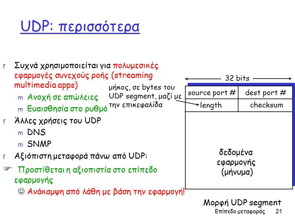 Επίπεδο μεταφοράς 21 UDP: περισσότερα r Συχνά χρησιμοποιείται για πολυμεσικές εφαρμογές συνεχούς ροής (streaming multimedia apps) m Ανοχή σε απώλειες m Ευαισθησία στο ρυθμό r Άλλες χρήσεις του UDP m DNS m SNMP r Αξιόπιστη μεταφορά πάνω από UDP:  Προστίθεται η αξιοπιστία στο επίπεδο εφαρμογής Ανάκαμψη από λάθη με βάση την εφαρμογή.