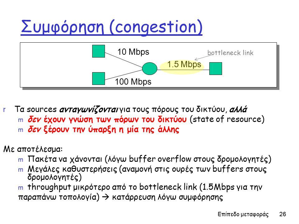 Επίπεδο μεταφοράς 26 Συμφόρηση (congestion) r Τα sources ανταγωνίζονται για τους πόρους του δικτύου, αλλά m δεν έχουν γνώση των πόρων του δικτύου (state of resource) m δεν ξέρουν την ύπαρξη η μία της άλλης Με αποτέλεσμα: m Πακέτα να χάνονται (λόγω buffer overflow στους δρομολογητές) m Μεγάλες καθυστερήσεις (αναμονή στις ουρές των buffers στους δρομολογητές) m throughput μικρότερο από το bottleneck link (1.5Mbps για την παραπάνω τοπολογία)  κατάρρευση λόγω συμφόρησης 10 Mbps 100 Mbps 1.5 Mbps bottleneck link