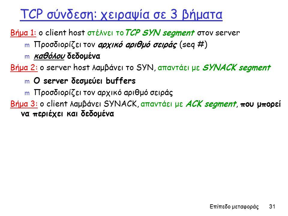 Επίπεδο μεταφοράς 31 TCP σύνδεση: χειραψία σε 3 βήματα Βήμα 1: ο client host στέλνει τοTCP SYN segment στον server m Προσδιορίζει τον αρχικό αριθμό σειράς (seq #) m καθόλου δεδομένα Βήμα 2: ο server host λαμβάνει το SYN, απαντάει με SYNACK segment m Ο server δεσμεύει buffers m Προσδιορίζει τον αρχικό αριθμό σειράς Βήμα 3: ο client λαμβάνει SYNACK, απαντάει με ACK segment, που μπορεί να περιέχει και δεδομένα