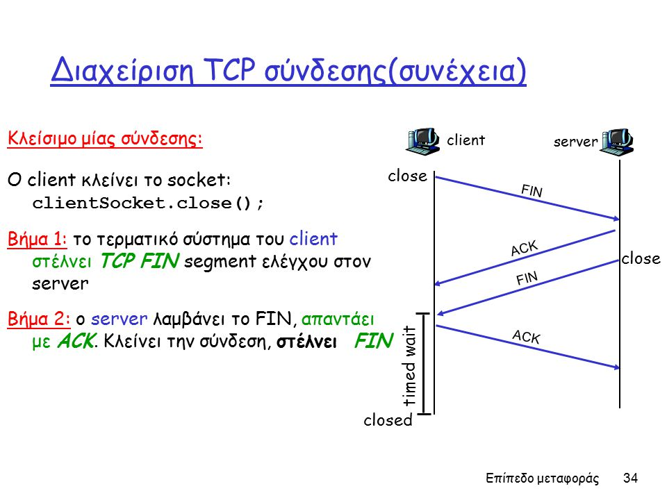 Επίπεδο μεταφοράς 34 Διαχείριση TCP σύνδεσης(συνέχεια) Κλείσιμο μίας σύνδεσης: Ο client κλείνει το socket: clientSocket.close(); Βήμα 1: το τερματικό σύστημα του client στέλνει TCP FIN segment ελέγχου στον server Βήμα 2: ο server λαμβάνει το FIN, απαντάει με ACK.