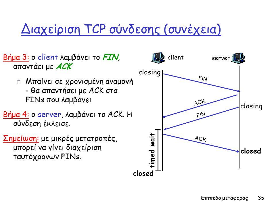 Επίπεδο μεταφοράς 35 Διαχείριση TCP σύνδεσης (συνέχεια) Βήμα 3: ο client λαμβάνει το FIN, απαντάει με ACK m Μπαίνει σε χρονισμένη αναμονή - θα απαντήσει με ACK στα FINs που λαμβάνει Βήμα 4: ο server, λαμβάνει το ACK.