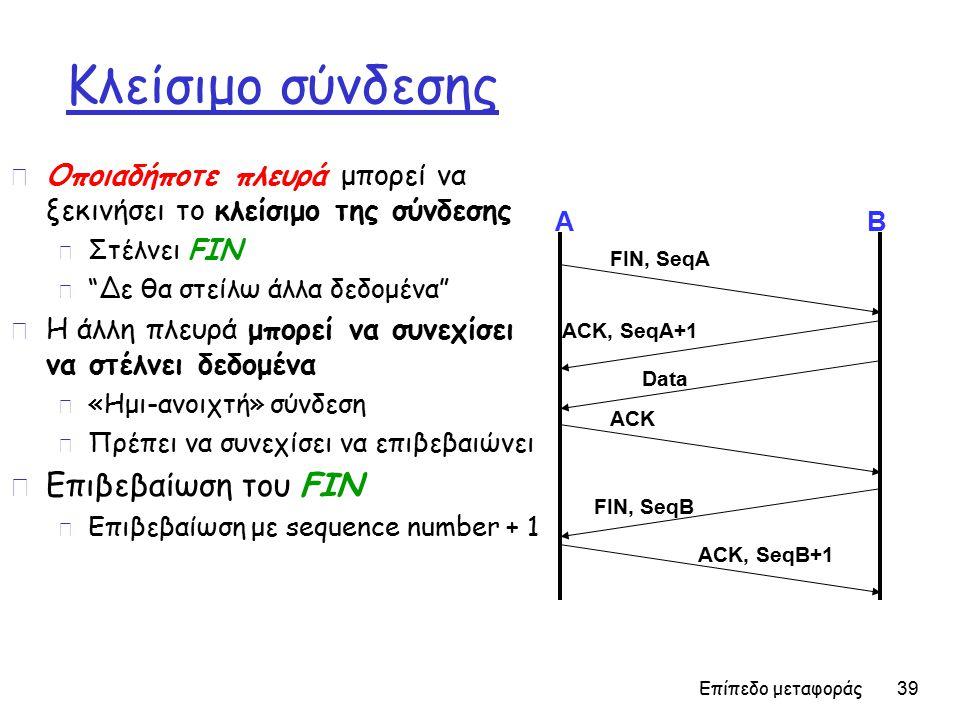Επίπεδο μεταφοράς 39 Κλείσιμο σύνδεσης r Οποιαδήποτε πλευρά μπορεί να ξεκινήσει το κλείσιμο της σύνδεσης m Στέλνει FIN m Δε θα στείλω άλλα δεδομένα r Η άλλη πλευρά μπορεί να συνεχίσει να στέλνει δεδομένα m «Ημι-ανοιχτή» σύνδεση m Πρέπει να συνεχίσει να επιβεβαιώνει r Επιβεβαίωση του FIN m Επιβεβαίωση με sequence number + 1 AB FIN, SeqA ACK, SeqA+1 ACK Data ACK, SeqB+1 FIN, SeqB