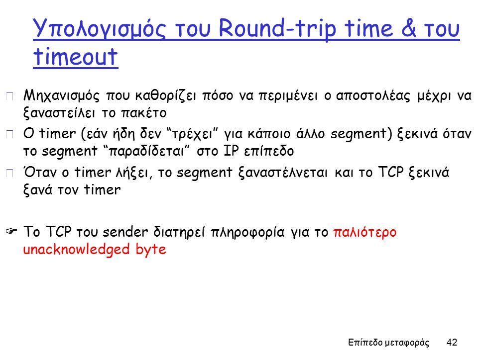 Επίπεδο μεταφοράς 42 Υπολογισμός του Round-trip time & του timeout r Μηχανισμός που καθορίζει πόσο να περιμένει ο αποστολέας μέχρι να ξαναστείλει το πακέτο r Ο timer (εάν ήδη δεν τρέχει για κάποιο άλλο segment) ξεκινά όταν το segment παραδίδεται στο IP επίπεδο r Όταν ο timer λήξει, το segment ξαναστέλνεται και το TCP ξεκινά ξανά τον timer  Το TCP του sender διατηρεί πληροφορία για το παλιότερο unacknowledged byte