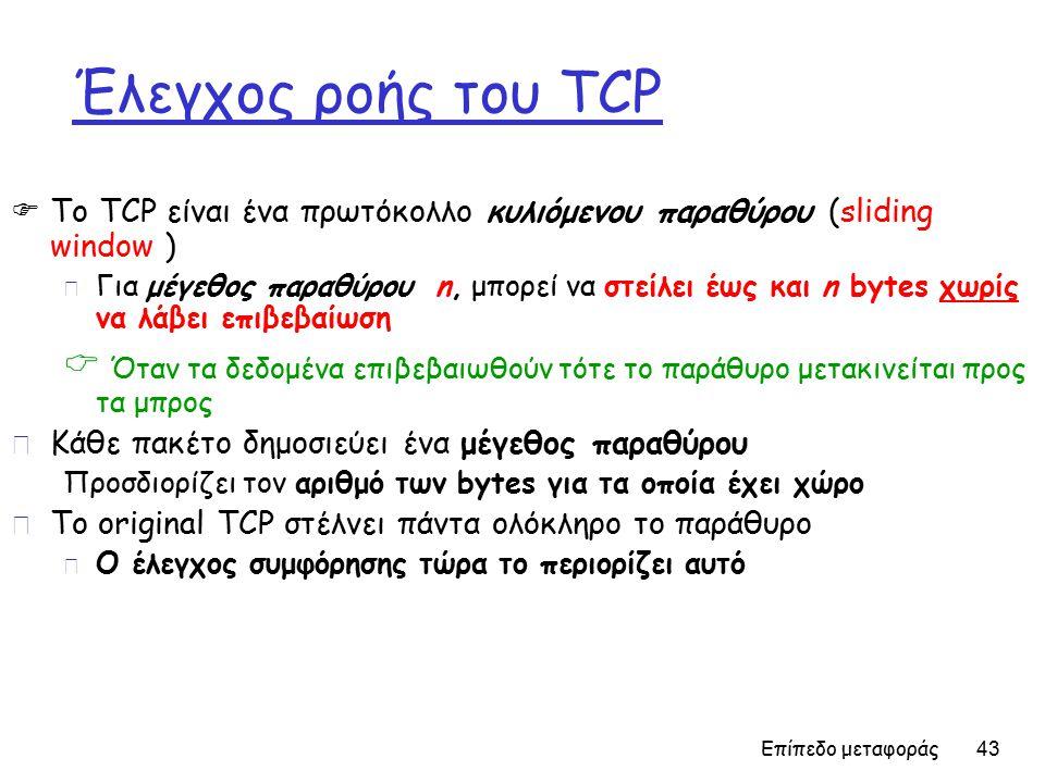 Επίπεδο μεταφοράς 43 Έλεγχος ροής του TCP  Το TCP είναι ένα πρωτόκολλο κυλιόμενου παραθύρου (sliding window ) m Για μέγεθος παραθύρου n, μπορεί να στείλει έως και n bytes χωρίς να λάβει επιβεβαίωση  Όταν τα δεδομένα επιβεβαιωθούν τότε το παράθυρο μετακινείται προς τα μπρος r Κάθε πακέτο δημοσιεύει ένα μέγεθος παραθύρου Προσδιορίζει τον αριθμό των bytes για τα οποία έχει χώρο r Το οriginal TCP στέλνει πάντα ολόκληρο το παράθυρο m Ο έλεγχος συμφόρησης τώρα το περιορίζει αυτό