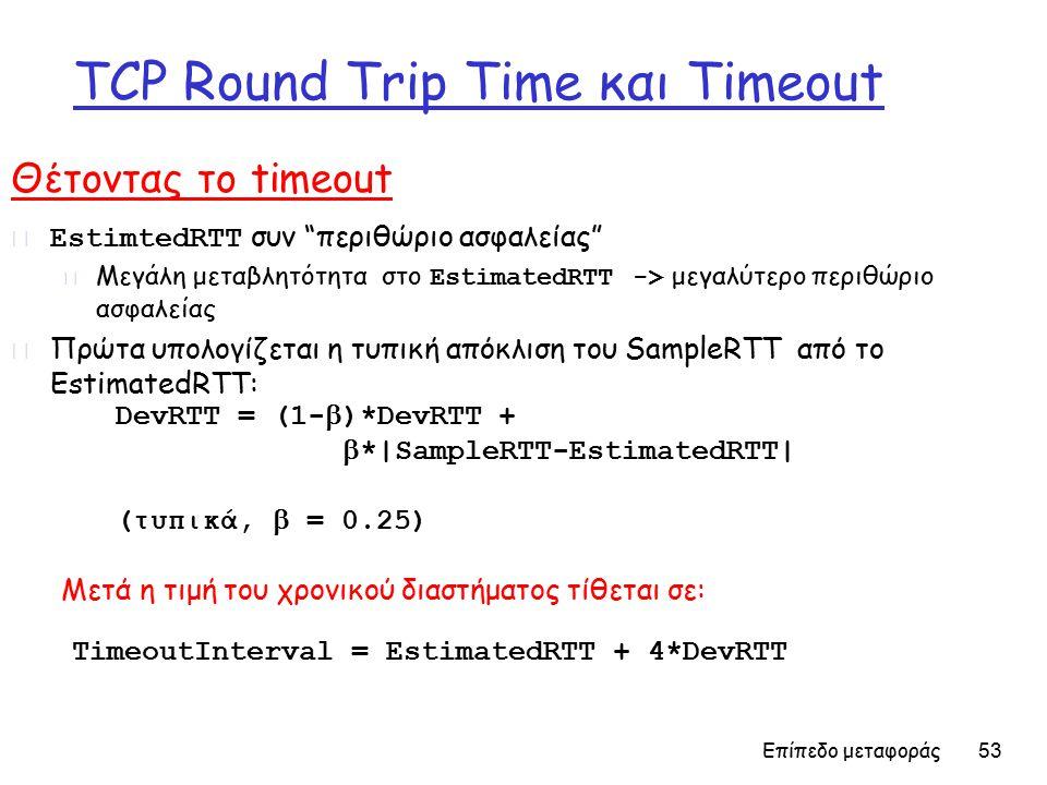 Επίπεδο μεταφοράς 53 TCP Round Trip Time και Timeout Θέτοντας το timeout  EstimtedRTT συν περιθώριο ασφαλείας  Μεγάλη μεταβλητότητα στο EstimatedRTT -> μεγαλύτερο περιθώριο ασφαλείας r Πρώτα υπολογίζεται η τυπική απόκλιση του SampleRTT από το EstimatedRTT: TimeoutInterval = EstimatedRTT + 4*DevRTT DevRTT = (1-  )*DevRTT +  *|SampleRTT-EstimatedRTT| (τυπικά,  = 0.25) Μετά η τιμή του χρονικού διαστήματος τίθεται σε: