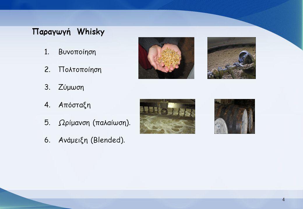 Παραγωγή Whisky 1.Βυνοποίηση 2.Πολτοποίηση 3.Ζύμωση 4.Απόσταξη 5.Ωρίμανση (παλαίωση). 6.Ανάμειξη (Blended). 4