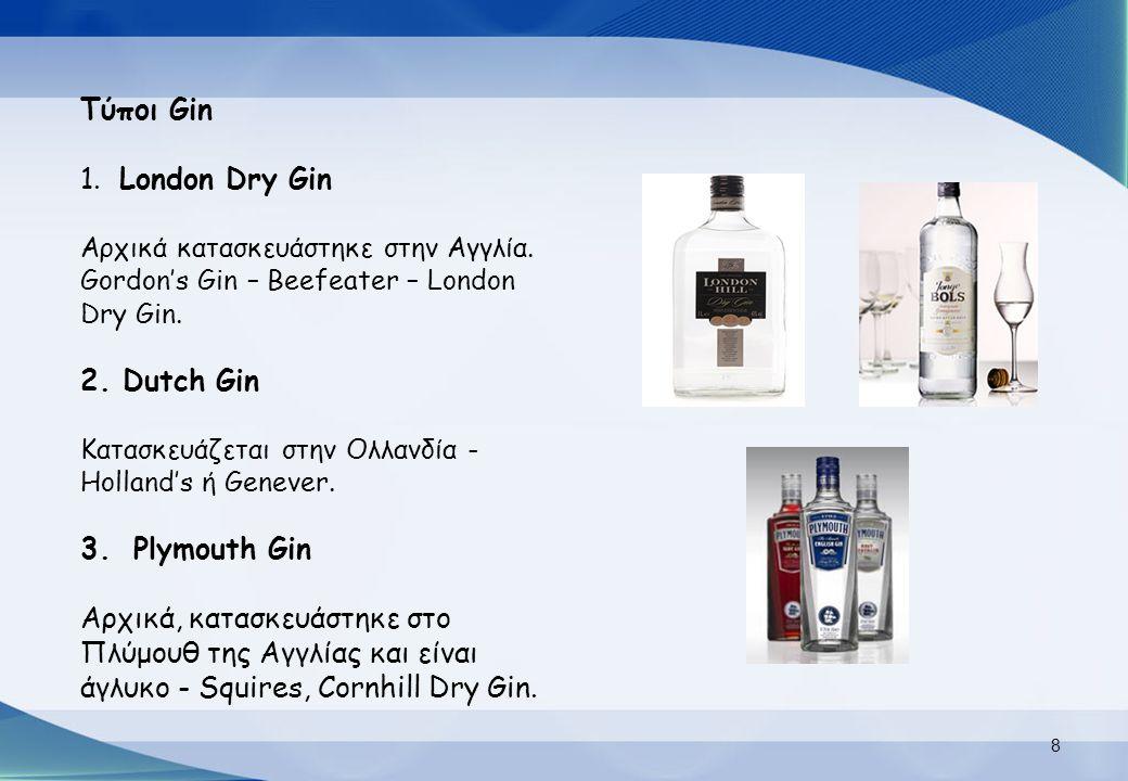 Τύποι Gin 1. London Dry Gin Αρχικά κατασκευάστηκε στην Αγγλία. Gordon's Gin – Beefeater – London Dry Gin. 2. Dutch Gin Κατασκευάζεται στην Ολλανδία -