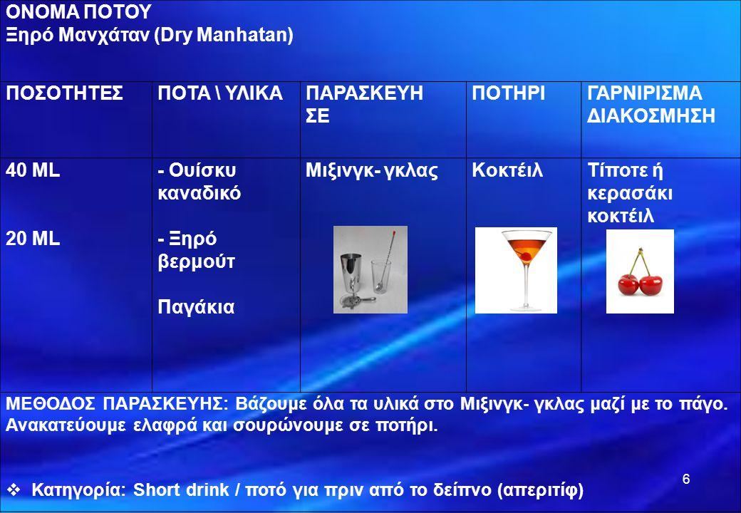 6 ΟΝΟΜΑ ΠΟΤΟΥ Ξηρό Μανχάταν (Dry Manhatan) ΠΟΣΟΤΗΤΕΣΠΟΤΑ \ ΥΛΙΚΑΠΑΡΑΣΚΕΥΗ ΣΕ ΠΟΤΗΡΙΓΑΡΝΙΡΙΣΜΑ ΔΙΑΚΟΣΜΗΣΗ 40 ML 20 ML - Ουίσκυ καναδικό - Ξηρό βερμούτ