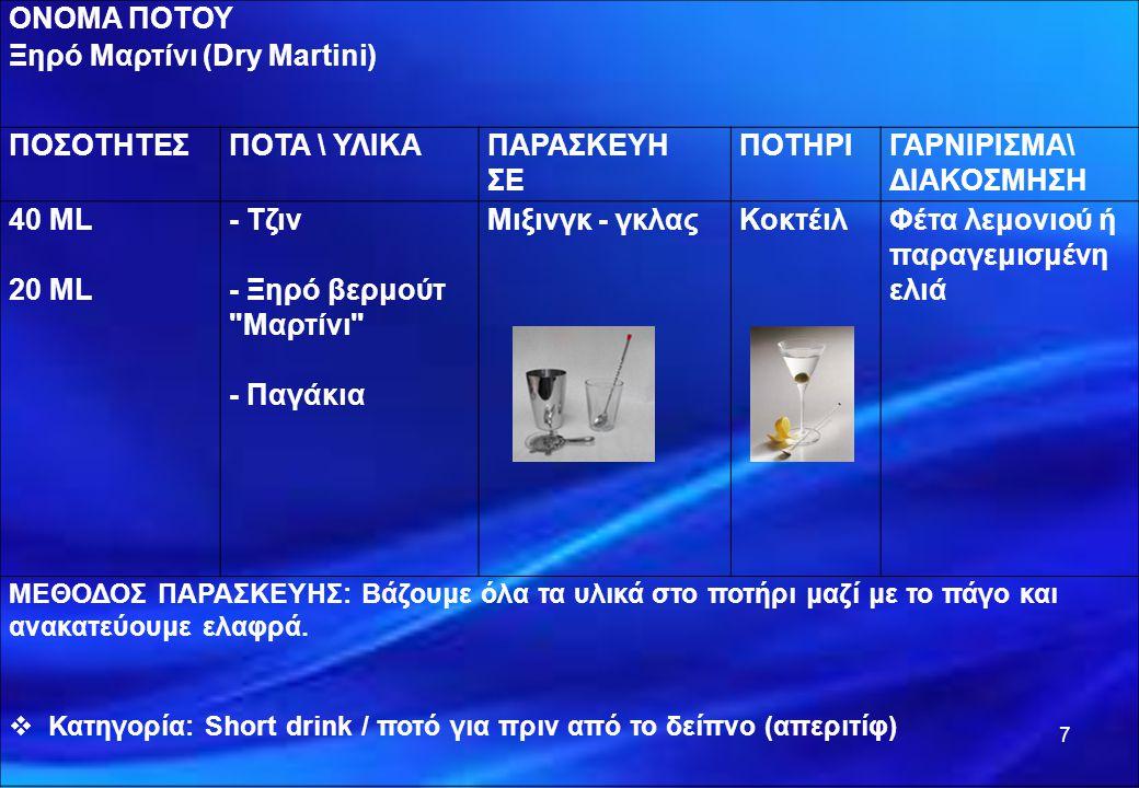 7 ΟΝΟΜΑ ΠΟΤΟΥ Ξηρό Μαρτίνι (Dry Martini) ΠΟΣΟΤΗΤΕΣΠΟΤΑ \ ΥΛΙΚΑΠΑΡΑΣΚΕΥΗ ΣΕ ΠΟΤΗΡΙΓΑΡΝΙΡΙΣΜΑ\ ΔΙΑΚΟΣΜΗΣΗ 40 ML 20 ML - Τζιν - Ξηρό βερμούτ