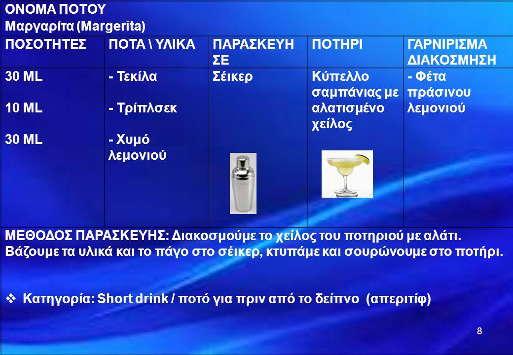 8 ΟΝΟΜΑ ΠΟΤΟΥ Μαργαρίτα (Margerita) ΠΟΣΟΤΗΤΕΣΠΟΤΑ \ ΥΛΙΚΑΠΑΡΑΣΚΕΥΗ ΣΕ ΠΟΤΗΡΙΓΑΡΝΙΡΙΣΜΑ ΔΙΑΚΟΣΜΗΣΗ 30 ML 10 ML 30 ML - Τεκίλα - Τρίπλσεκ - Χυμό λεμονιο