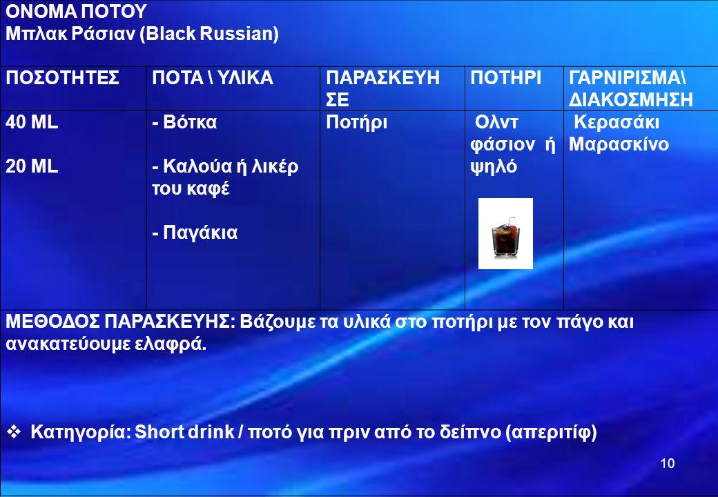 10 ΟΝΟΜΑ ΠΟΤΟΥ Μπλακ Ράσιαν (Black Russian) ΠΟΣΟΤΗΤΕΣΠΟΤΑ \ ΥΛΙΚΑΠΑΡΑΣΚΕΥΗ ΣΕ ΠΟΤΗΡΙΓΑΡΝΙΡΙΣΜΑ\ ΔΙΑΚΟΣΜΗΣΗ 40 ML 20 ML - Βότκα - Καλούα ή λικέρ του κα