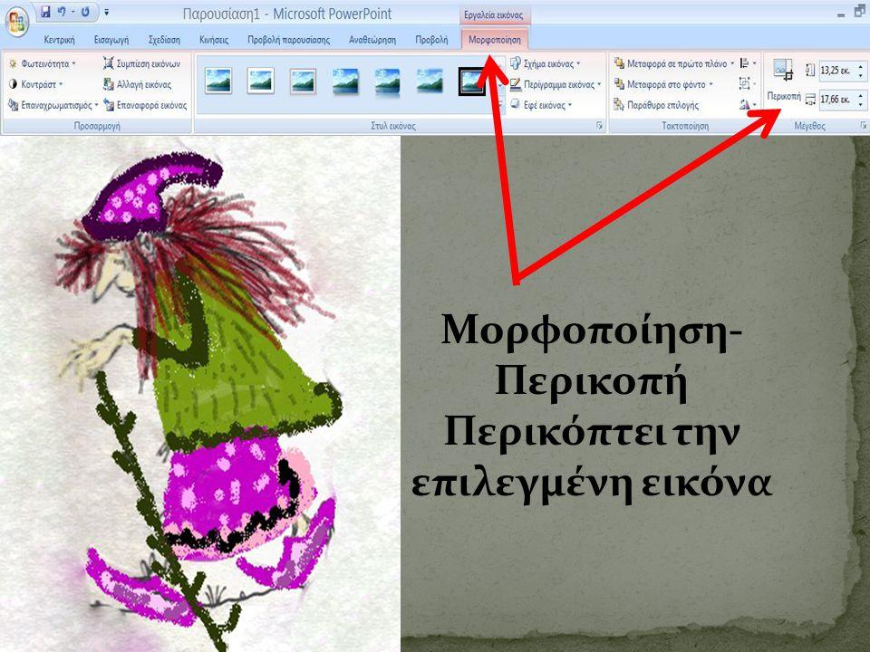 Μορφοποίηση- Περικοπή Περικόπτει την επιλεγμένη εικόνα