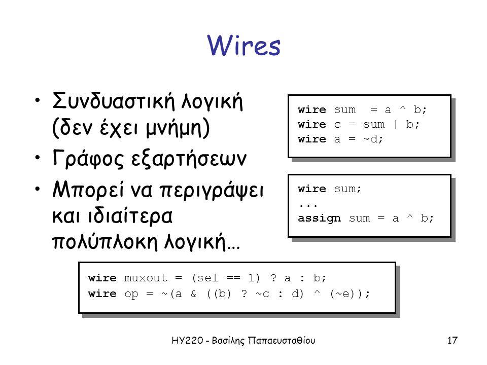 ΗΥ220 - Βασίλης Παπαευσταθίου17 Wires Συνδυαστική λογική (δεν έχει μνήμη) Γράφος εξαρτήσεων Μπορεί να περιγράψει και ιδιαίτερα πολύπλοκη λογική… wire sum = a ^ b; wire c = sum | b; wire a = ~d; wire sum = a ^ b; wire c = sum | b; wire a = ~d; wire muxout = (sel == 1) .