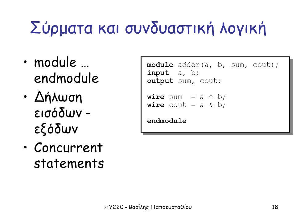 ΗΥ220 - Βασίλης Παπαευσταθίου18 Σύρματα και συνδυαστική λογική module adder(a, b, sum, cout); input a, b; output sum, cout; wire sum = a ^ b; wire cout = a & b; endmodule module adder(a, b, sum, cout); input a, b; output sum, cout; wire sum = a ^ b; wire cout = a & b; endmodule module … endmodule Δήλωση εισόδων - εξόδων Concurrent statements