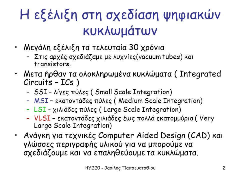 ΗΥ220 - Βασίλης Παπαευσταθίου3 Τυπική Ροή Σχεδίασης (Design Flow) Requirements SimulateRTL Model Gate-level Model Synthesis SimulateTest Bench ASIC or FPGA Place & Route Timing Model Simulate