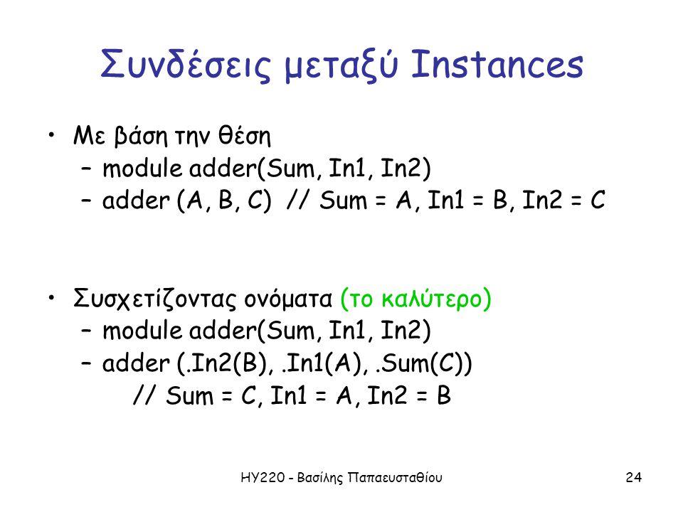 ΗΥ220 - Βασίλης Παπαευσταθίου24 Συνδέσεις μεταξύ Instances Με βάση την θέση –module adder(Sum, In1, In2) –adder (A, B, C) // Sum = A, In1 = B, In2 = C Συσχετίζοντας ονόματα (το καλύτερο) –module adder(Sum, In1, In2) –adder (.In2(B),.In1(A),.Sum(C)) // Sum = C, In1 = A, In2 = B