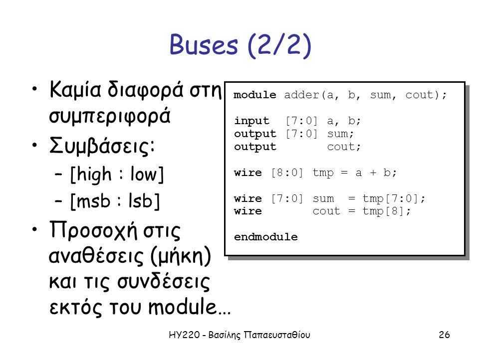 ΗΥ220 - Βασίλης Παπαευσταθίου26 Buses (2/2) Καμία διαφορά στη συμπεριφορά Συμβάσεις: –[high : low] –[msb : lsb] Προσοχή στις αναθέσεις (μήκη) και τις συνδέσεις εκτός του module… module adder(a, b, sum, cout); input [7:0] a, b; output [7:0] sum; output cout; wire [8:0] tmp = a + b; wire [7:0] sum = tmp[7:0]; wire cout = tmp[8]; endmodule module adder(a, b, sum, cout); input [7:0] a, b; output [7:0] sum; output cout; wire [8:0] tmp = a + b; wire [7:0] sum = tmp[7:0]; wire cout = tmp[8]; endmodule