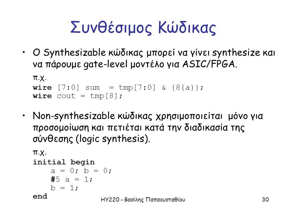 ΗΥ220 - Βασίλης Παπαευσταθίου30 Συνθέσιμος Κώδικας Ο Synthesizable κώδικας μπορεί να γίνει synthesize και να πάρουμε gate-level μοντέλο για ASIC/FPGA.