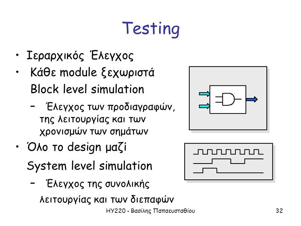 ΗΥ220 - Βασίλης Παπαευσταθίου32 Testing Ιεραρχικός Έλεγχος Κάθε module ξεχωριστά Block level simulation – Έλεγχος των προδιαγραφών, της λειτουργίας και των χρονισμών των σημάτων Όλο το design μαζί System level simulation – Έλεγχος της συνολικής λειτουργίας και των διεπαφών