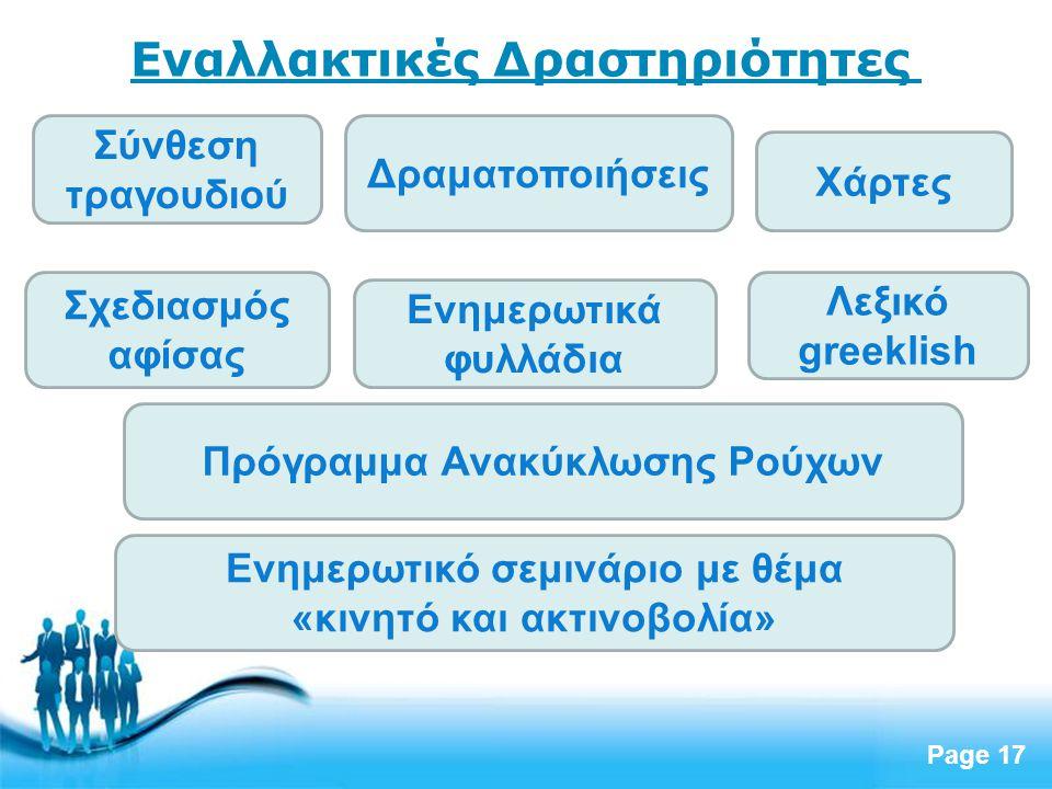 Free Powerpoint Templates Page 17 Σύνθεση τραγουδιού Εναλλακτικές Δραστηριότητες Σχεδιασμός αφίσας Δραματοποιήσεις Ενημερωτικά φυλλάδια Λεξικό greekli